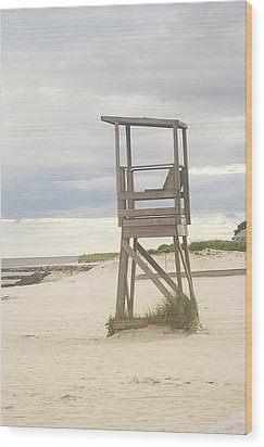 Summer Throne Lifeguard Chair Wood Print by Suzanne Powers