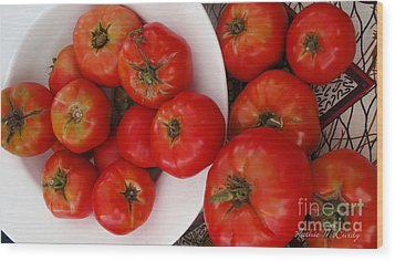 Summer Tomatoes Wood Print by Kathie McCurdy