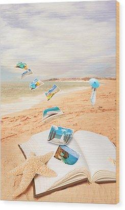 Summer Vacation Postcards Wood Print by Amanda Elwell