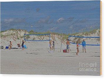 Summer Volley Ball Wood Print by Deborah Benoit