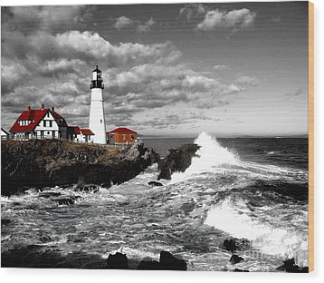 Summer Waves Red Stroke Bw Wood Print