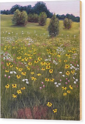 Summer Wildflowers Wood Print by Joan Swanson