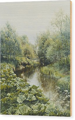 Summerday At The Stream Wood Print by Peder Monsted