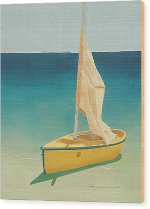 Summer's Boat Wood Print by Diane Cutter