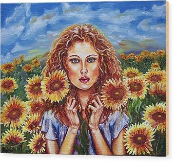Summers Sunflowers  Wood Print by Yelena Rubin