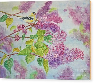 Summertime Arrival II - Goldfinch And Lilacs Wood Print by Kathryn Duncan