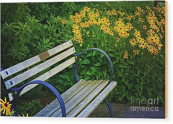 Wood Print featuring the photograph Summertime Bench by Maria Janicki
