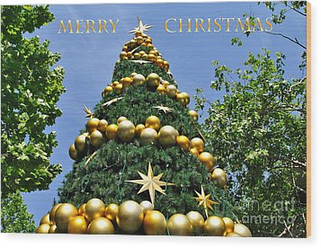Summertime Christmas With Text Wood Print by Kaye Menner