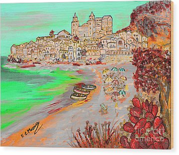 Summertime In Cefalu' Wood Print