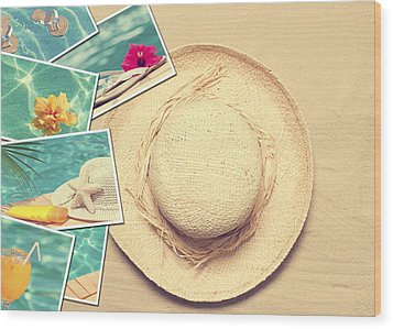 Summertime Postcards Wood Print by Amanda Elwell