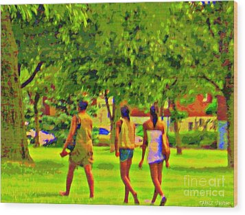 Summertime Walk Through The Beautiful Tree Lined Park Montreal Street Scene Art By Carole Spandau Wood Print by Carole Spandau