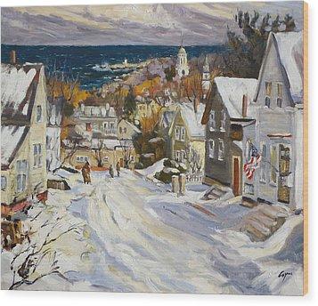 Summit Avenue In Winter Wood Print by Chris Coyne