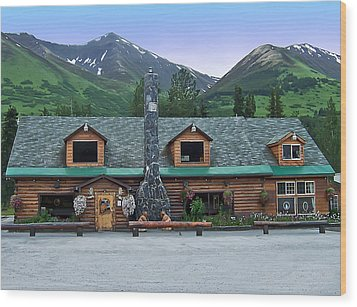 Summit Lake Lodge Alaska Wood Print by Aimee L Maher Photography and Art Visit ALMGallerydotcom