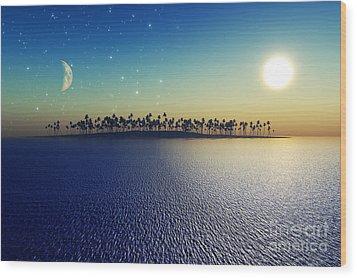 Sun And Moon Wood Print by Aleksey Tugolukov