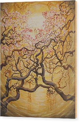 Sun And Sakura Wood Print by Vrindavan Das