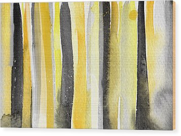 Sun And Shadows- Abstract Painting Wood Print by Linda Woods