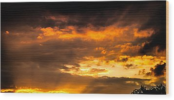 Sun Beams And Clouds Wood Print by Optical Playground By MP Ray