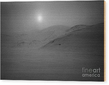 sun breaking through white out snowstorm whalers bay deception island Antarctica Wood Print by Joe Fox
