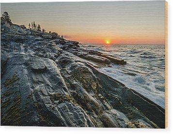 Sun Breaks At Pemaquid Point Wood Print by At Lands End Photography