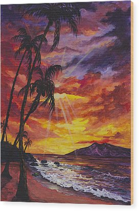Wood Print featuring the painting Sun Burst by Darice Machel McGuire