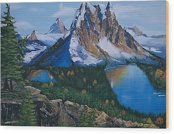 Wood Print featuring the painting Sun Burst Peak by Sharon Duguay