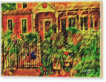 Wood Print featuring the painting Sun Dial House by Ted Azriel