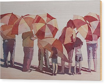 Sun Drenched Parasols  Wood Print by Jenny Armitage