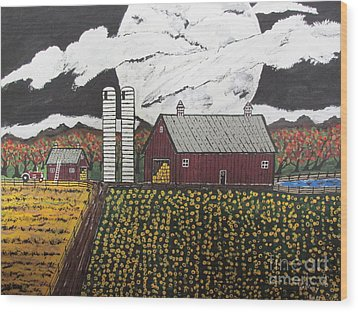 Sun Flower Farm Wood Print by Jeffrey Koss