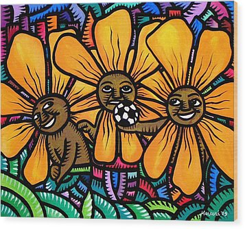 Sun Flowers And Friends Playtime 2009 Wood Print