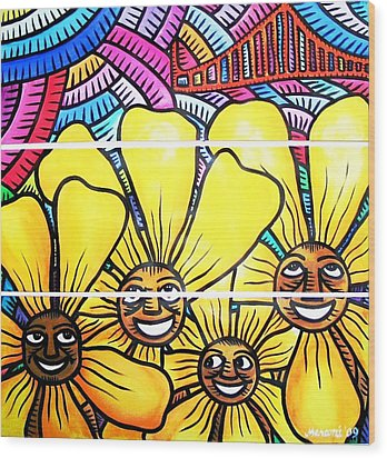 Sun Flowers And Friends Sf 1 Wood Print