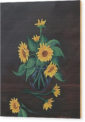 Wood Print featuring the painting Sun Flowers  by Sharon Duguay