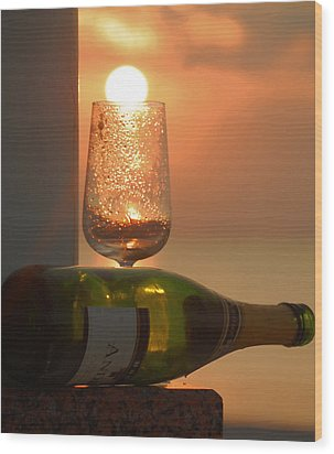 Wood Print featuring the photograph Sun In Glass by Leticia Latocki