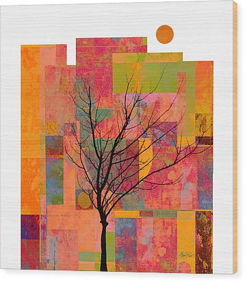 Sun In The City - Abstract - Art  Wood Print by Ann Powell