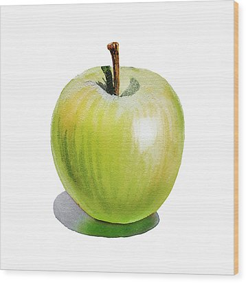Wood Print featuring the painting Sun Kissed Green Apple by Irina Sztukowski