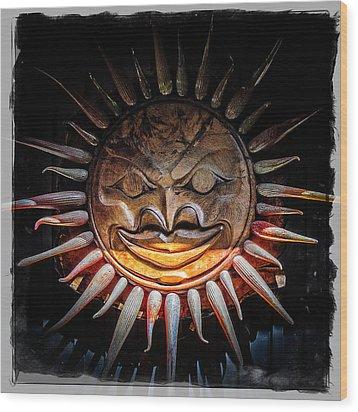 Sun Mask Wood Print