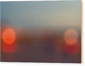 Sun On Horizon Wood Print