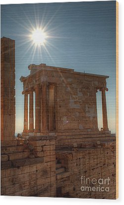 Sun Over Athena Nike Temple Wood Print by Deborah Smolinske