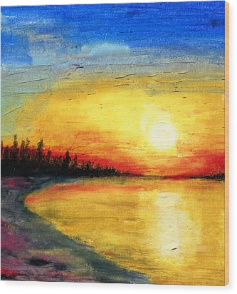 Sun Over The Lake Wood Print by R Kyllo