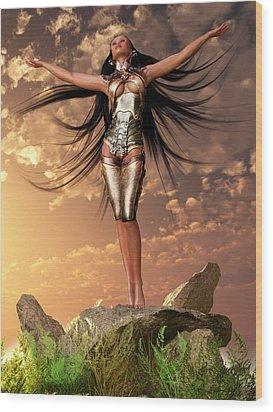Sun Priestess 2 Wood Print by Kaylee Mason