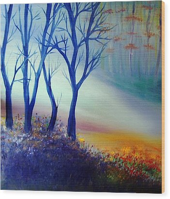 Wood Print featuring the painting Sun Ray In Blue  by Lilia D