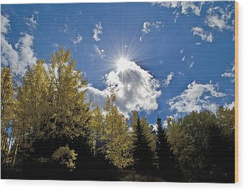 Sun Rays Across Colorado Mountain Wood Print