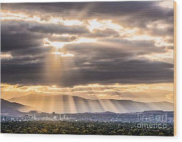 Sun Rays Over Reno Wood Print