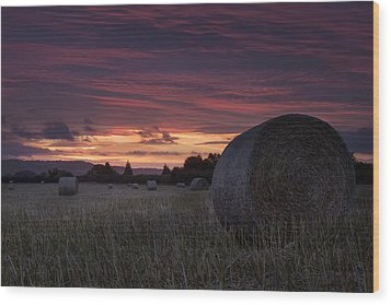 Wood Print featuring the photograph Sunrise Over The Harvest by Stewart Scott