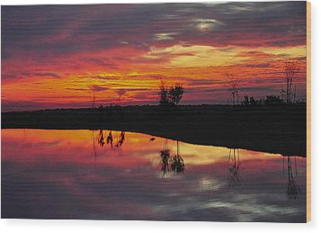 Sun Set At Cowen Creek Wood Print