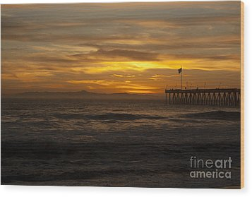 Sun Setting Behind Santa Cruz With Ventura Pier 01-10-2010 Wood Print by Ian Donley