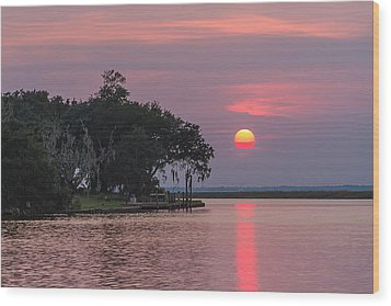 Sun Setting In The Bayou Wood Print by Brian Wright