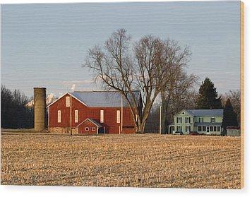 Wood Print featuring the photograph Sun Setting On A Pennsylvania Bottomland Farm by Gene Walls