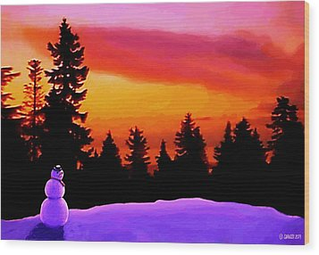 Sun Setting On Snow Wood Print