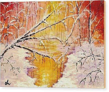 Wood Print featuring the painting Sun Shy... by Cristina Mihailescu