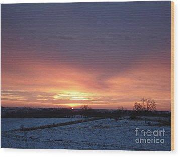 Sun Up In January Wood Print